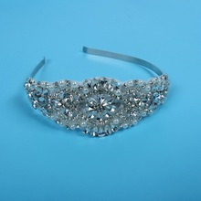 Lowosaiwor Wholesales Clear Crystal Beaded Applique Headband,Bridal Crystal Applique Headpiece,Bride Jewelry D0037