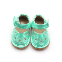 Green Flower Punch Mary Jane Toddler Girl Squeaky Shoes