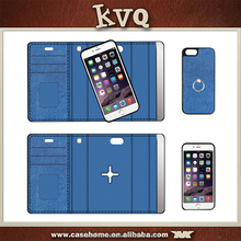 2016 New design develop by Shenzhen KVQ leather case manufacturer detachable ring stand wallet case for iPhone with card slot