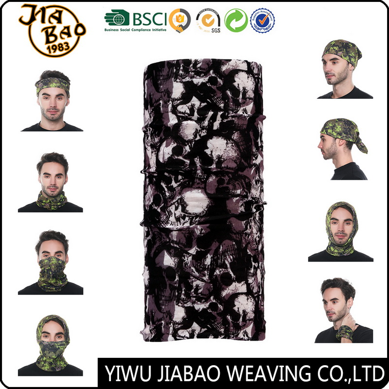 Skull Pattern Custom Cool Multifunctional Neck Warmer Bandana with Unique Logo