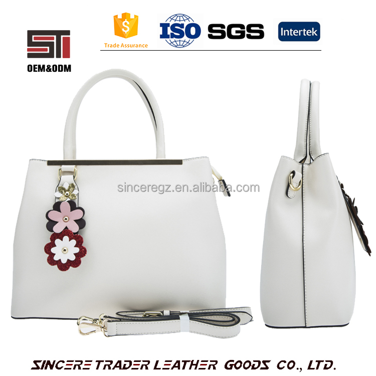 Trendy high quality latest fashion lady tote PU leather handbag with flower decoration 17SH-5853D