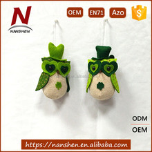 Factory promotional holiday decorations ST. patrick's day owl toy for sale