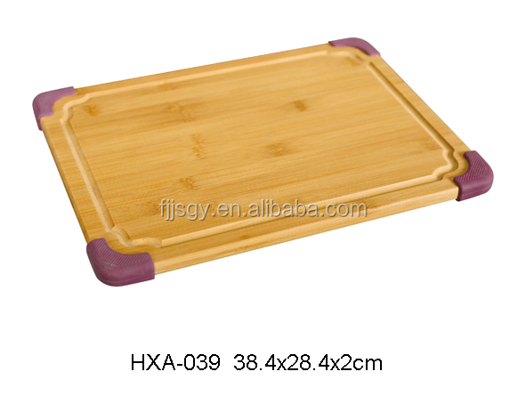 Bamboo Cutting Board with Purple Silicone Rubber