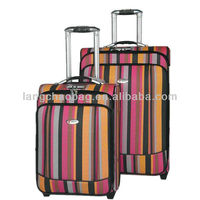 2014 PU stripe colorful trolley luggage
