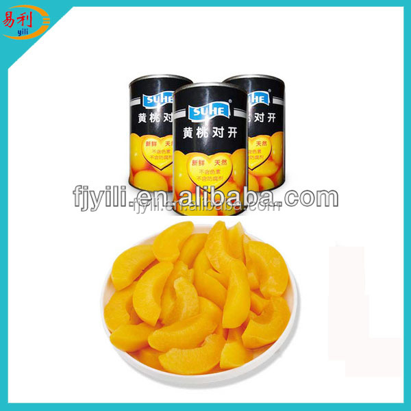 Fresh canned yellow peach strips