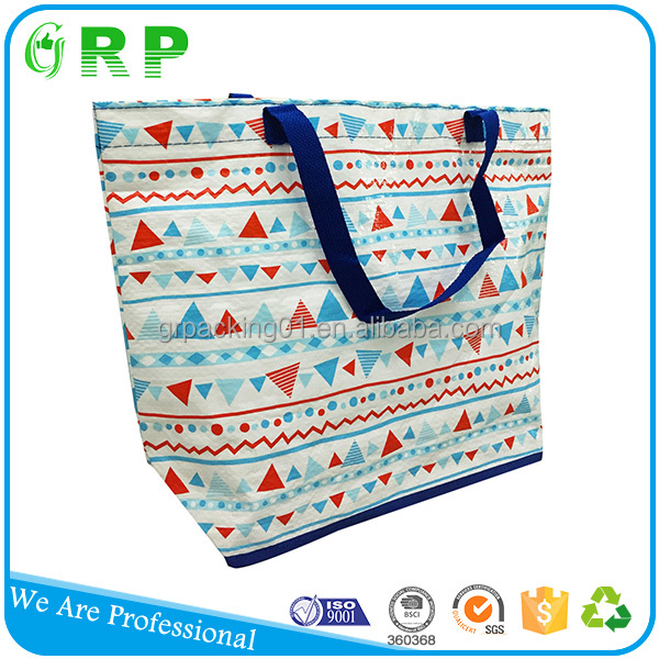 ISO BSCI Reusable pp woven fabric handle grocery use shopping bag sizes
