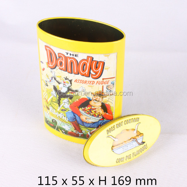 yellow color embossing lid and body oval shape candy sweet tin box