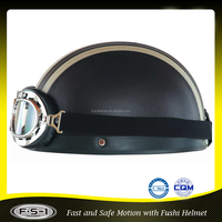 DOT approved Black custom leather half face pilot helmet