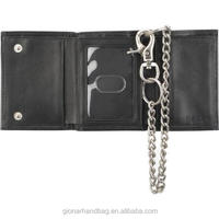 Trifold Leather Wallet with Chain