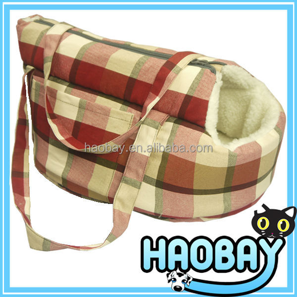 2106 New Products Classical Lattice Soft Suede Pet Travel Carrier Bag