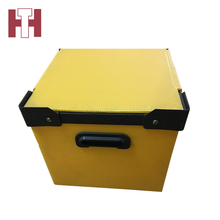 Foldable pp corrugated plastic storage packing hollow box with lid