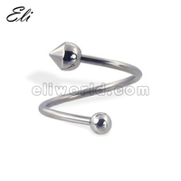 single ball-cone spiral barbell twist barbell piercing