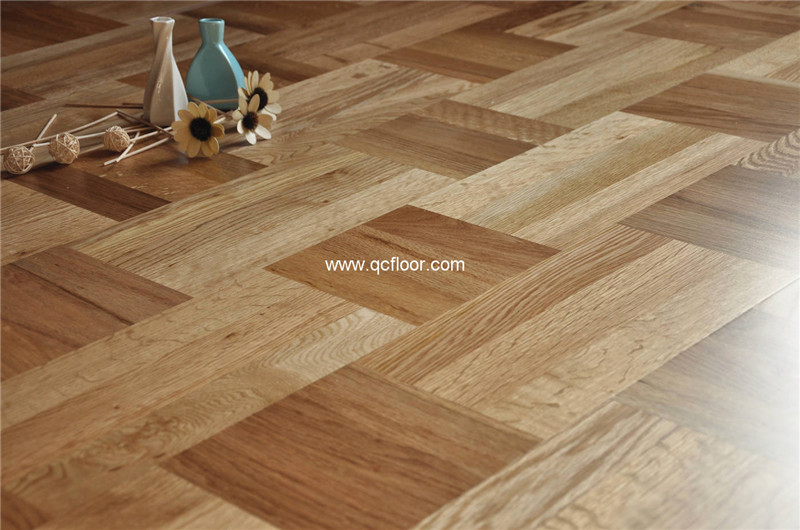 3 ply prefinished art parquet oak engineered wood flooring