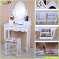European dressing table set, table, stool, mirror set of three