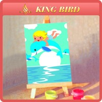 dolphin ang girl easel painting for kids