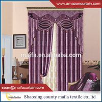 Latest window curtain designs 100% polyester jacquard curtain fabric blackout imported