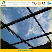 splendid big flat panel 15mm radiation protection tempered glass roof of the sunroom