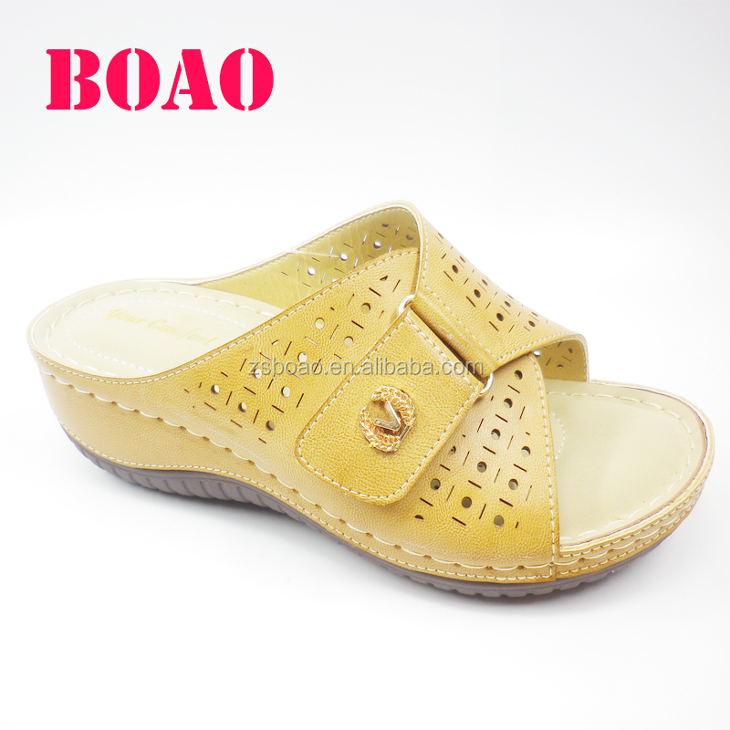 low price breathable soft fancy outdoor fashion ladies leather sandal chappal