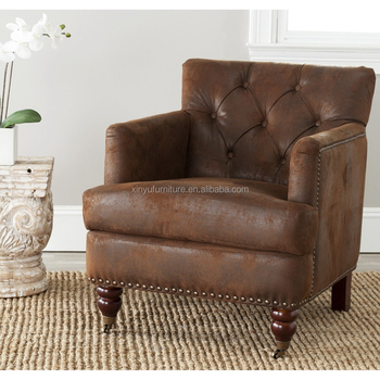Vintage style leather hotel writing room arm chair XYN1637