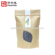 Water proof stand up brown kraft paper /PET bag with clear window for chia seed packaging