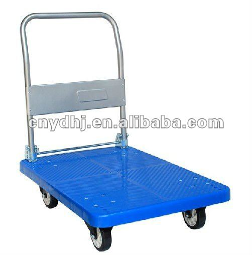 Folding Grocery Storage Flat Bed Handle Push Trolley Carts With Wheels