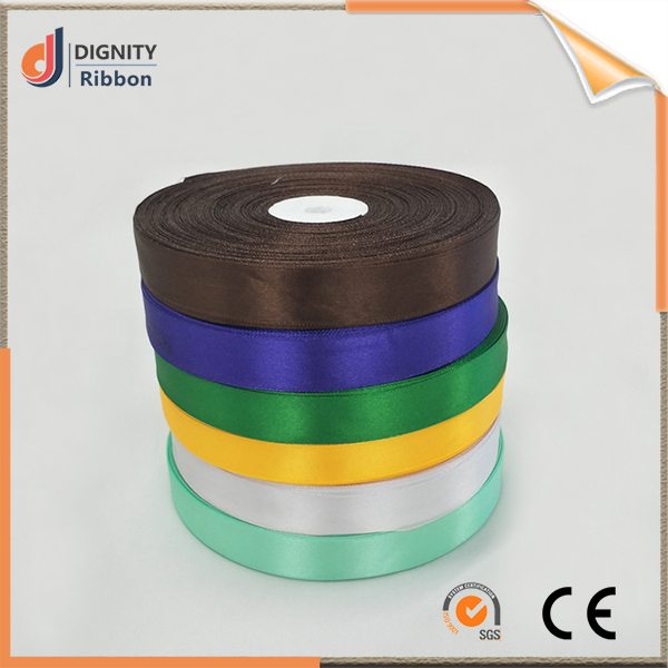 Customized 20mm Width 100% Polyester Woven Satin Ribbon