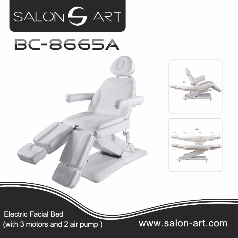 BC-8665A portable adjustable massage bed with 3 motors electric facial chair beauty 2016