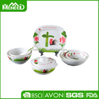 Printed cock crowed Good Morning design 48 pcs bulk melamine cheap tableware