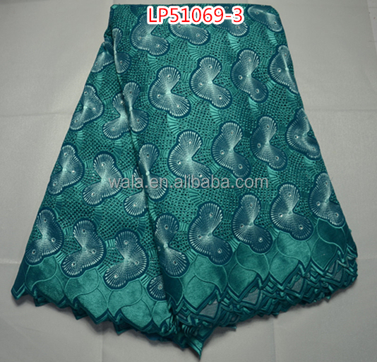 colorful swiss lace fabric for party LP51069-3 teal cotton lace material for women