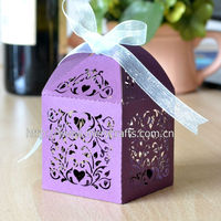 "2013 hot sale! laser cut gift box purple""love vines"" favor boxes"