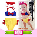 3Pcs unisex baby Bowknot kids clothing girl bikini Set breathable nontoxic top+briefs+headband toddler bathing Suit