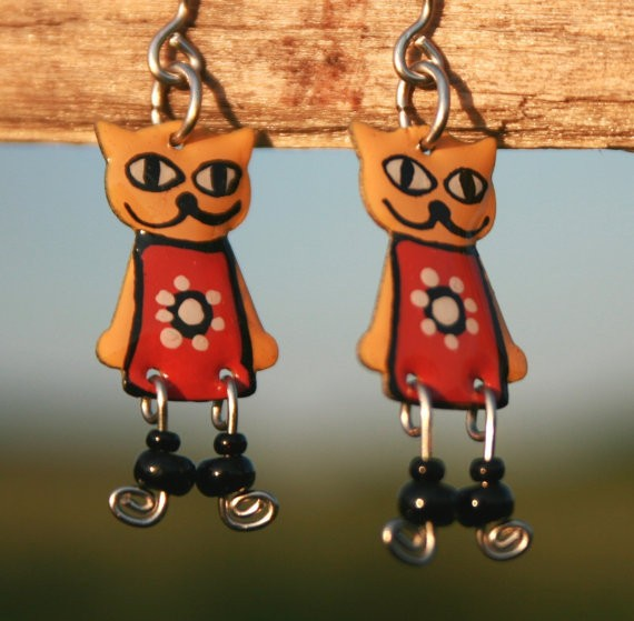 Hand-painted cat earrings, stainless steel