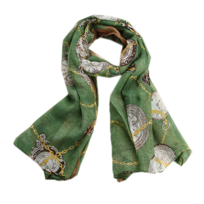 2015 korea new High Quality Brand New Style Women's Silk Scarf chiffon scarves Clocks and watches beach towels Scarf Shawl