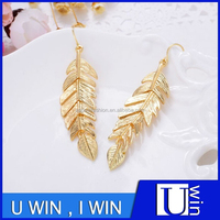 Metal Leaf Shape Plating Jewelry Elegant Earring For Girls Dress