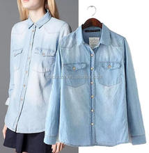 Z52172B NEW FASHION EUROPEAN STYLE COLLAR NECK SHIRT TRENDY HOT WOMENS' DENIM SHIRT BLOUSE