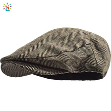 Polyester cabbie cap flat cap hat custom wool tweed newsboy men ivy driving hat with elastic band