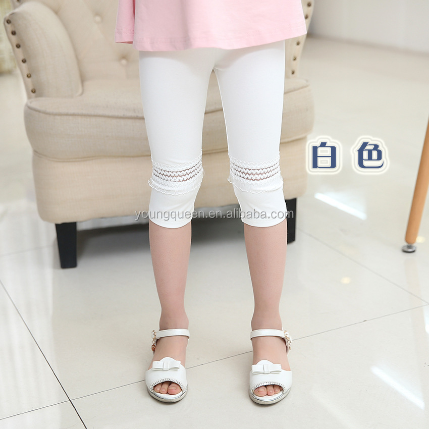 YJB52 Summer new pants design for leggings girls pics seven cotton children lace pants trousers Children's clothing