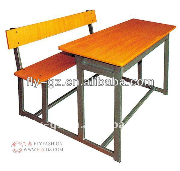 Flyfashion SF-65 antique cheap wood double attached school student desk and bench chair set