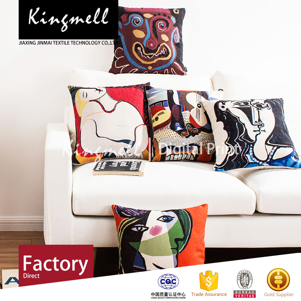 Custom Made High Quality picasso cushion cover for watching tv machine embroidery designs cushion cover