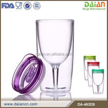 HOT new product bpa free fancy double wall plastic wine glass with lid