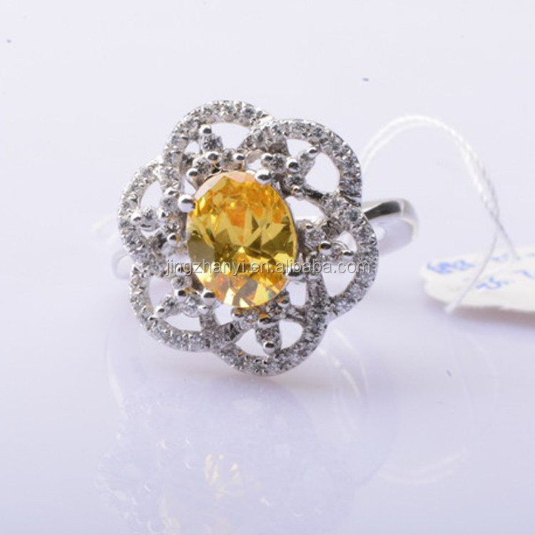 daisy flower ring, yellow gemstone ring, plated 18 k gold ring