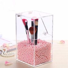 Clear Acrylic Makeup Case Brush Cosmetic Organizer Storage Box Holder Dustproof