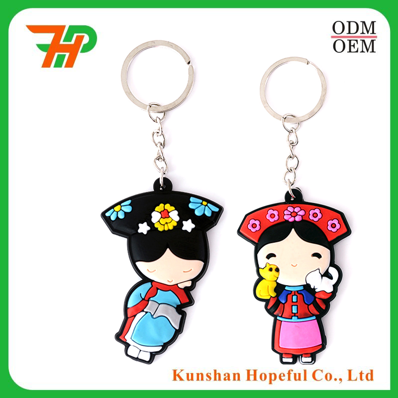 Wholesale cheap eco-friendly cartoon character pvc anime keychain