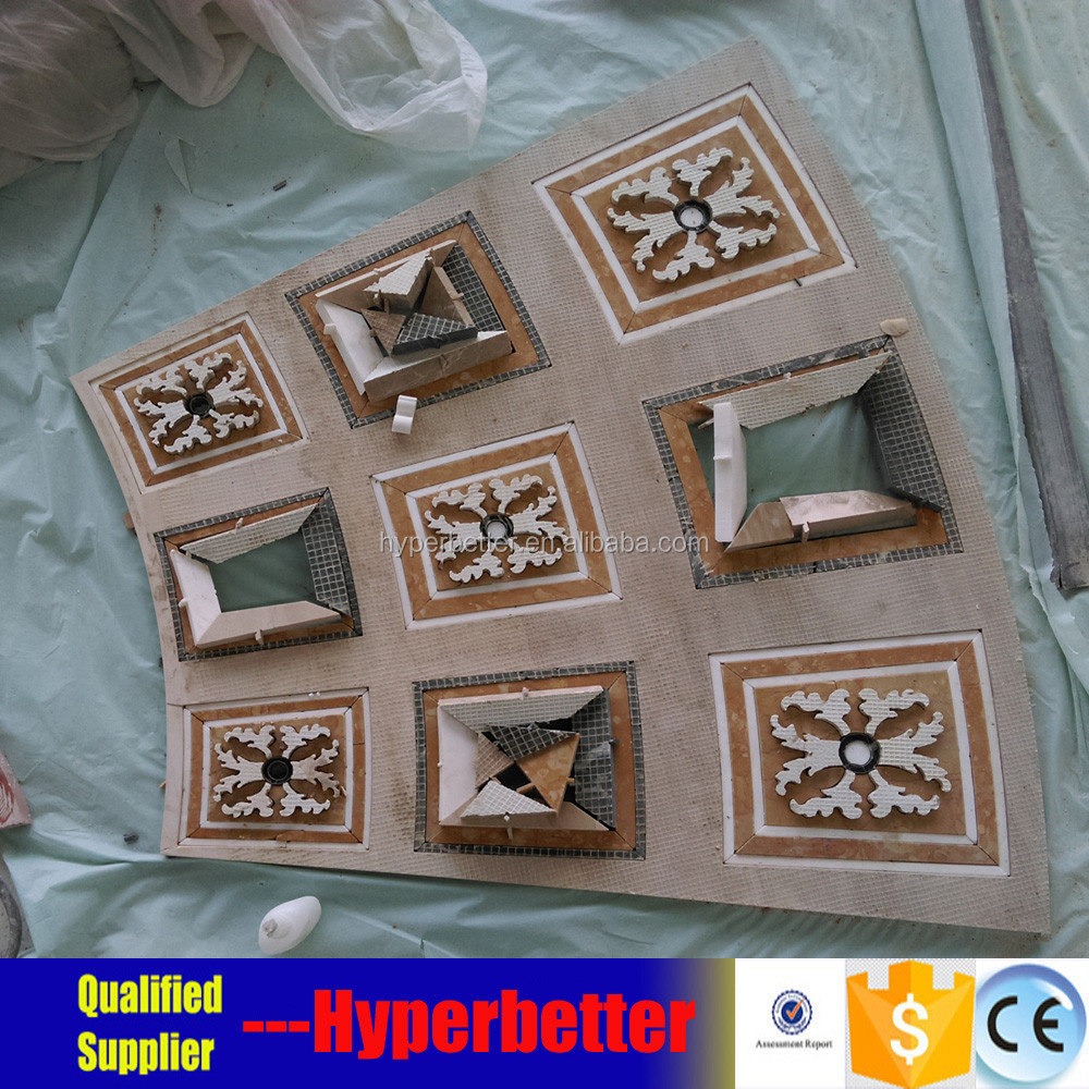 brown mixed white marble stone medallion tiles