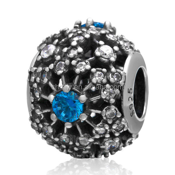 White And Blue Zircon Pave Hollow Round Ball Authentic Solid 925 Sterling Silver Beads For DIY European Charm Jewelry SZPB203