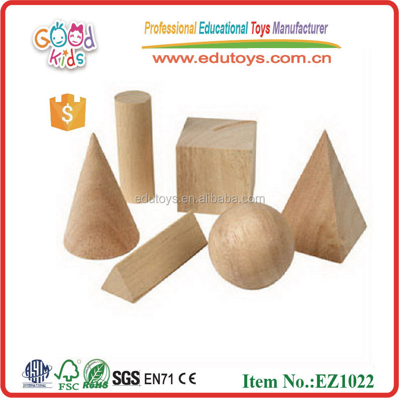 Learning Resources 8 Piece Natural Wood Geometric Block Toy for kids