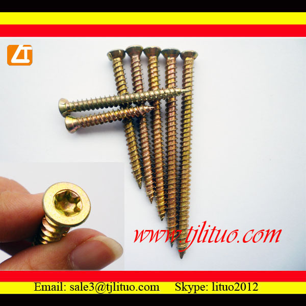 yellow zinc plated trox recessed concrete screw