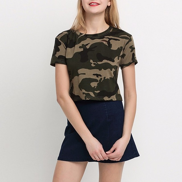Women T-shirt Casual Camouflage Female Crop Tops Streetwear Hollow Out Slim Short Tee