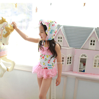 Sunmate China Wholesale Kids Girls Flower Print One-piece Swimwear Sleeveless Skirt Swimsuit