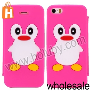 2014 New Product 3D Silicone Case for iPhone 5S,Cute Penguin Cartoon Case for iPhone 5/5S with Sucker Cup